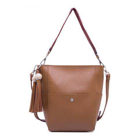 Hot 2017 Winter New Custom Retro Tassel Bucket Bag All-Match Bulk Bag Simple Ribbon Crossbody Bag Package BROWN VERTICAL
