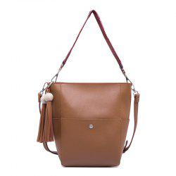 2017 Winter New Custom Retro Tassel Bucket Bag All-Match Bulk Bag Simple Ribbon Crossbody Bag Package - BROWN VERTICAL