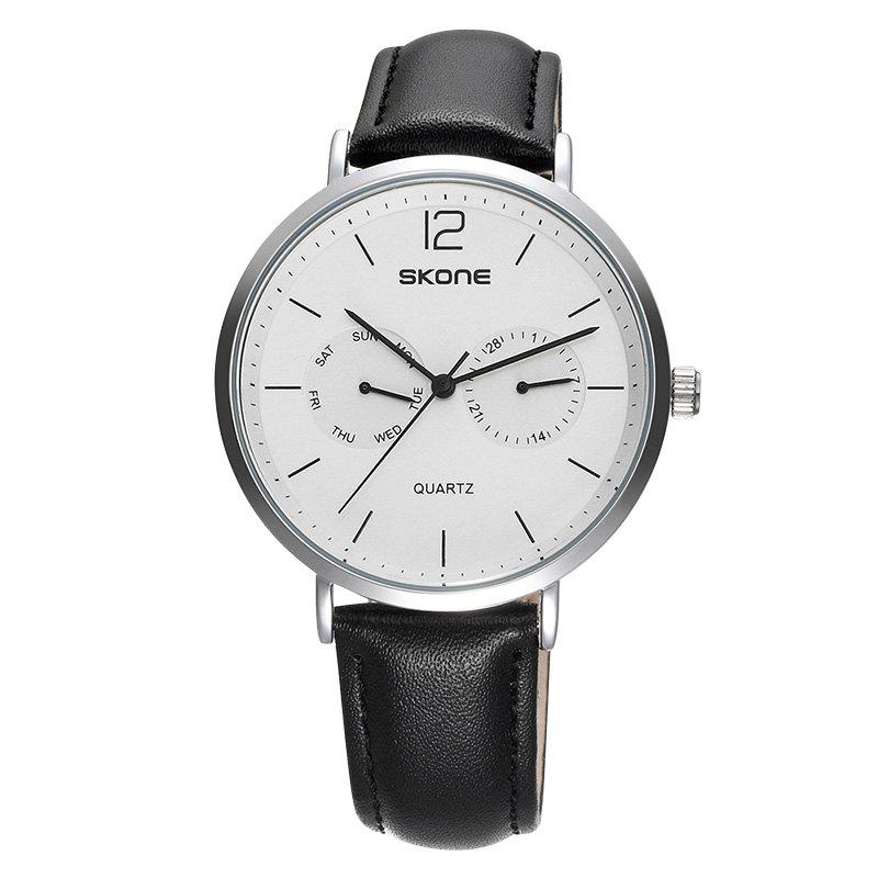 SKONE 9460EG 1071 Simple Leather Band Men Quartz WatchJEWELRY<br><br>Color: BLACK + WHITE; Brand: Skone; Watches categories: Men; Watch style: Business,Casual,Fashion;
