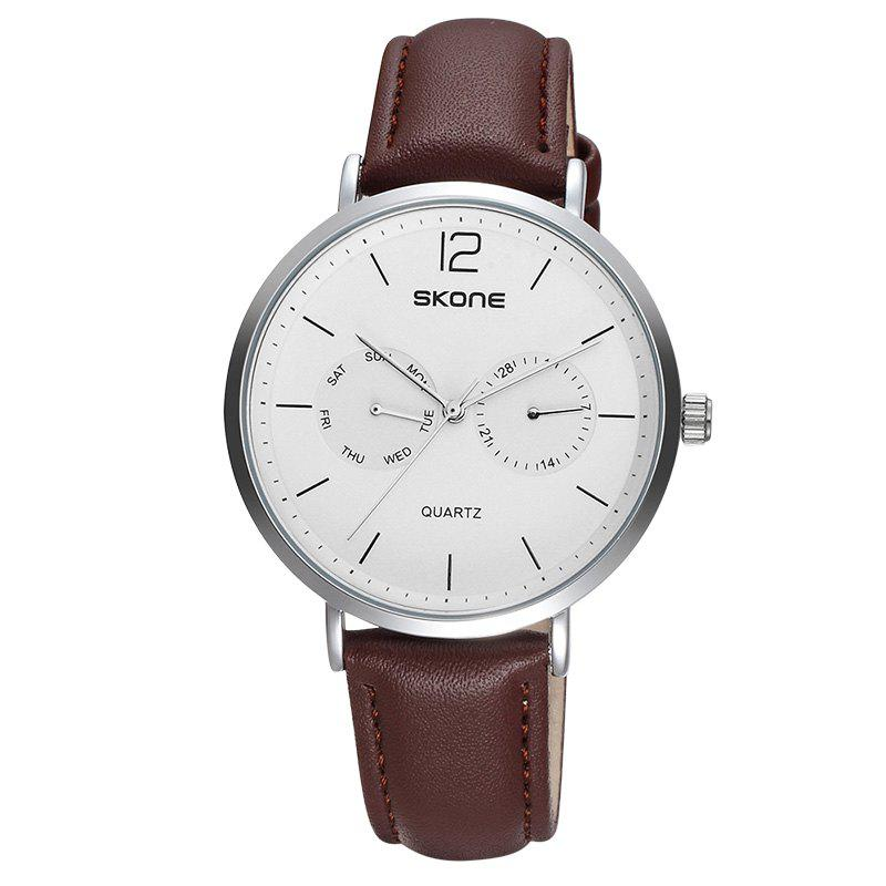 SKONE 9460EG 1071 Simple Leather Band Men Quartz WatchJEWELRY<br><br>Color: COFFEE + WHITE; Brand: Skone; Watches categories: Men; Watch style: Business,Casual,Fashion;