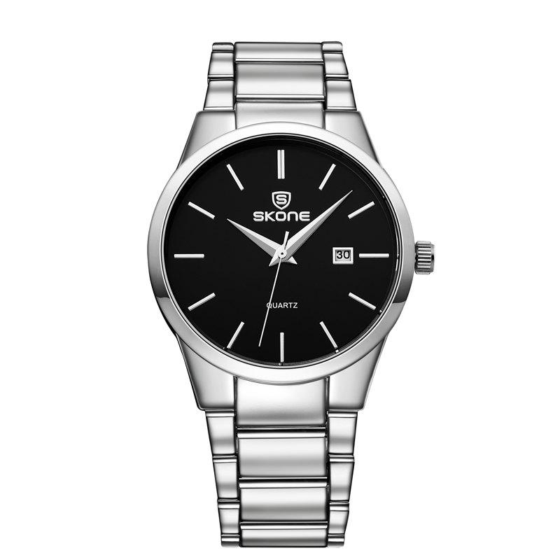 SKONE 7382BG 4219  Fine Steel Band Men Quartz Watch with CalendarJEWELRY<br><br>Color: WHITE AND BLACK; Brand: Skone; Watches categories: Men; Watch style: Business,Casual,Fashion;
