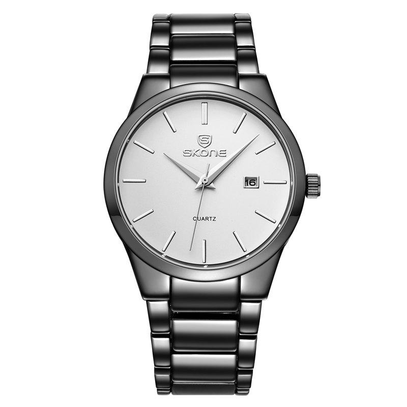 SKONE 7382BG 4219  Fine Steel Band Men Quartz Watch with CalendarJEWELRY<br><br>Color: BLACK + WHITE; Brand: Skone; Watches categories: Men; Watch style: Business,Casual,Fashion;