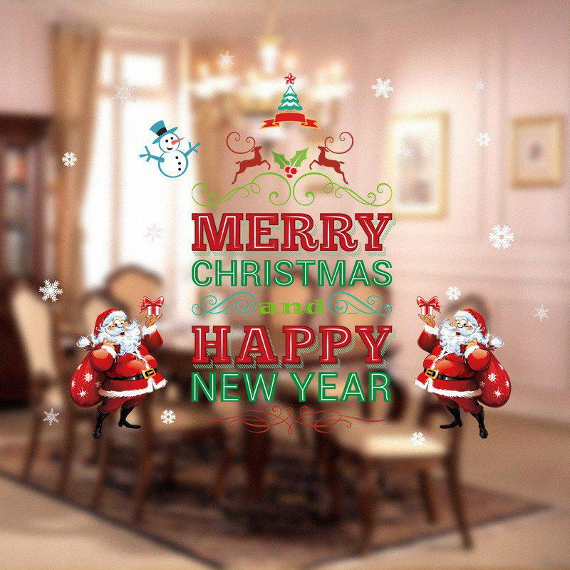 Santa Claus Christmas Tree Christmas Decoration Window Wall StickersHOME<br><br>Color: COLORFUL; Type: Plane Wall Sticker; Subjects: Cartoon,Christmas; Art Style: Toilet Stickers; Function: Decorative Wall Sticker; Material: Vinyl(PVC); Suitable Space: Bedroom,Kids Room,Kids Room,Living Room; Quantity: 1;