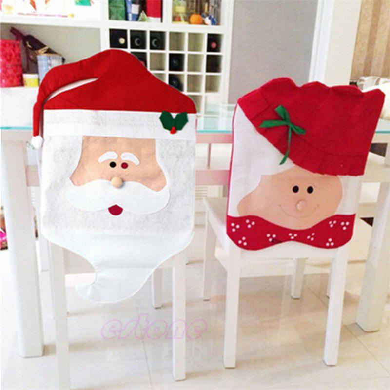 2PCS Santa Claus Chair Covers for Christmas Table DecorationsHOME<br><br>Color: RED; Material: Lint; For: Others; Usage: Christmas,Party;
