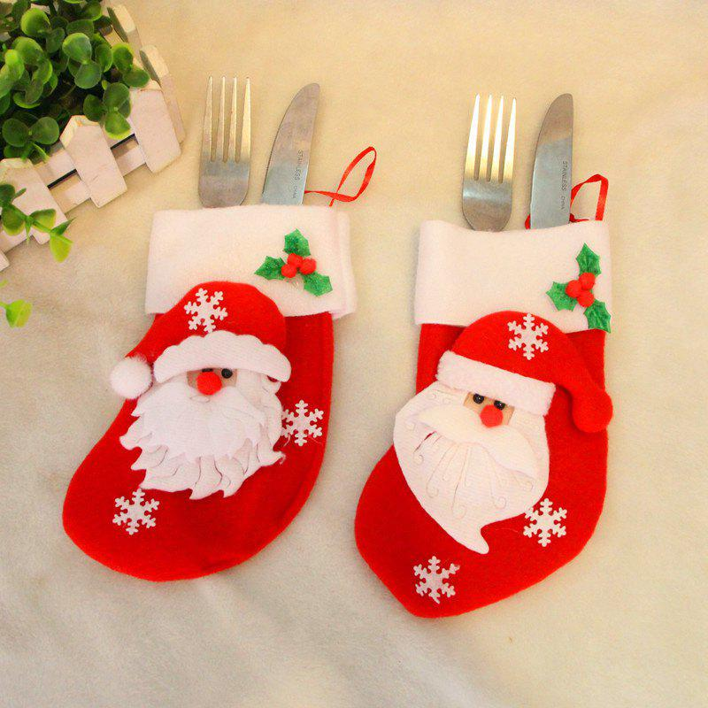 2pcs Santa Claus Gift Socks Knife and Fork Bag Christmas Tree Ornaments, Red