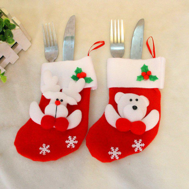 2pcs Bear and Deer Gift Socks Knife and Fork bag Christmas Tree OrnamentsHOME<br><br>Color: RED;