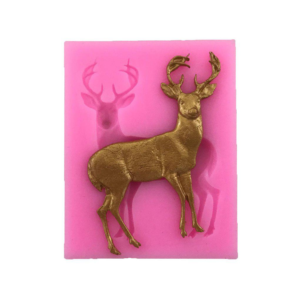 AY-XP130 Christmas Reindeer Pattern Fondant Mold for Cake DecorationHOME<br><br>Color: PINK;