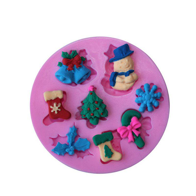 AY - XP136 Christmas Decoration Snowman Snowflake Silicone Pattern Fondant Mold for Cake DecorationHOME<br><br>Color: PINK;