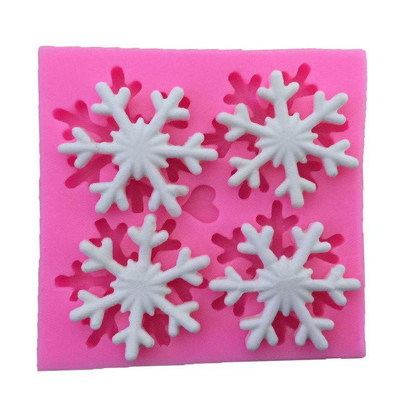 AY - XP137 Christmas Snowflake  Silicone Pattern Fondant Mold for Cake DecorationHOME<br><br>Color: PINK;