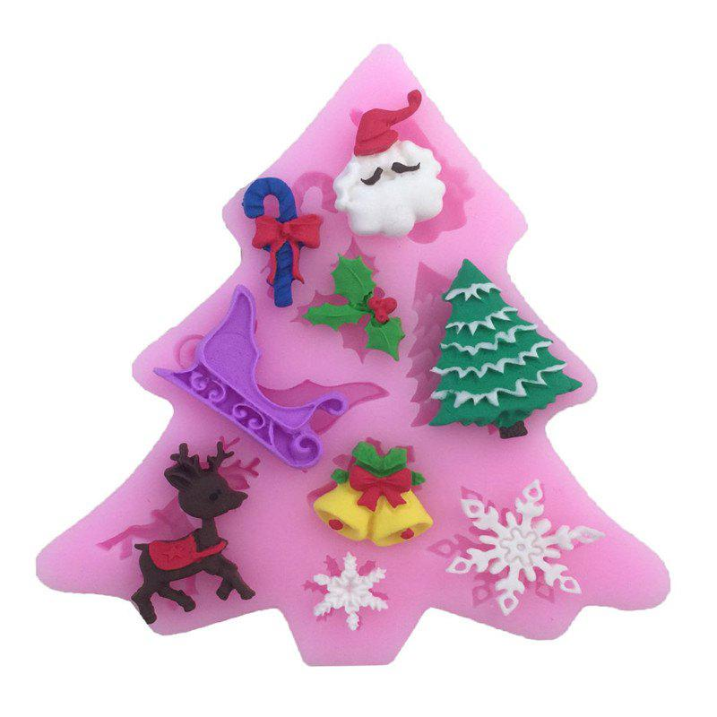 AY - XP13802 Christmas Tree Elk Snowflake Silicone Pattern Fondant Mold for Cake DecorationHOME<br><br>Color: PINK;