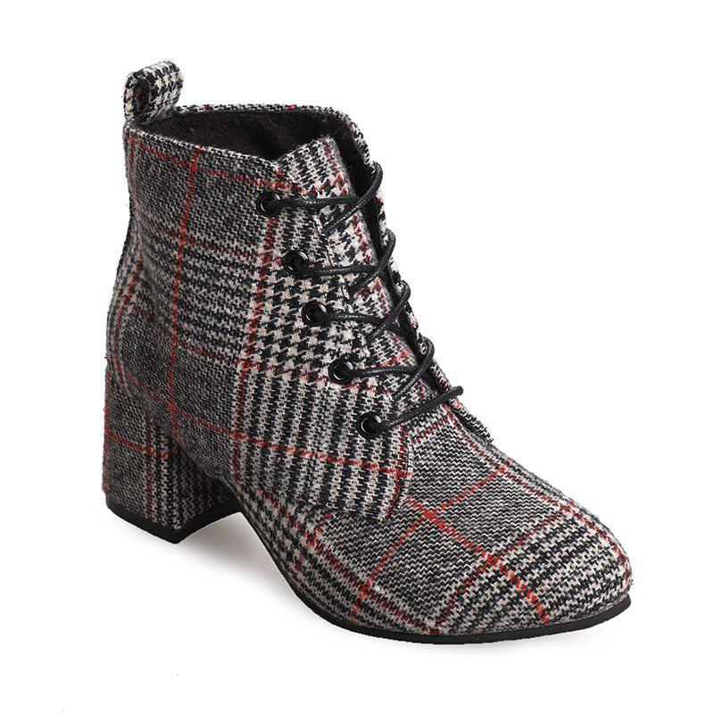 DG-F608 Pointed To Tie with Coarse Checkerwork Bumading BootsSHOES &amp; BAGS<br><br>Size: 39; Color: GRAY;