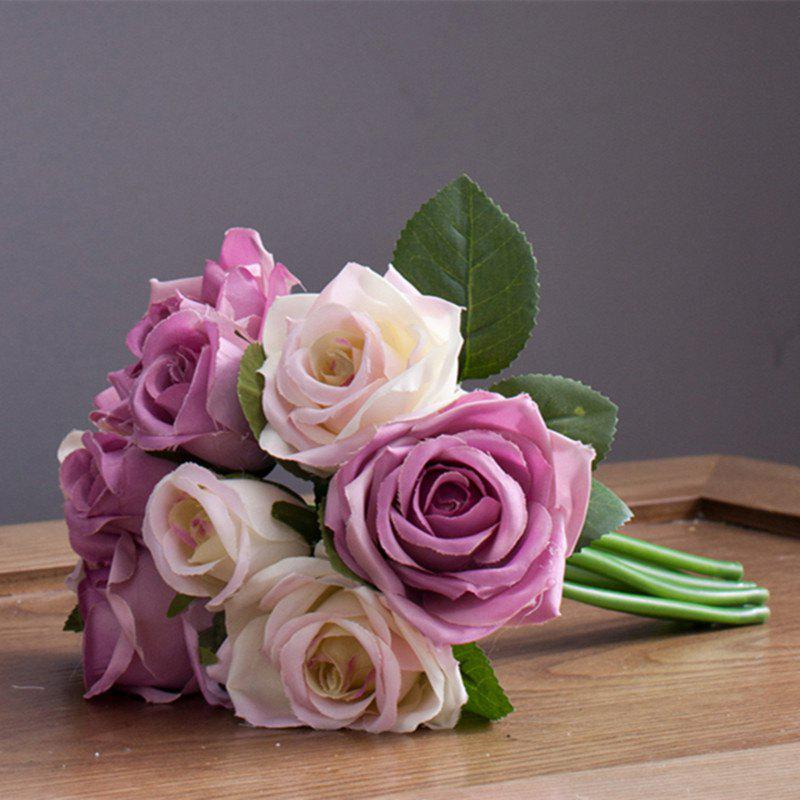 XM 9 Count Silk Rose Hand Tied Bouquet Home Decoration Artificial Flower 25CMHOME<br><br>Color: WHITE + PURPLE; Style: Cute,Wedding; Branch Numbers: 1; Flower Materials: Silk; Display Space: Tabletop Flower; Floral Type: Roses;