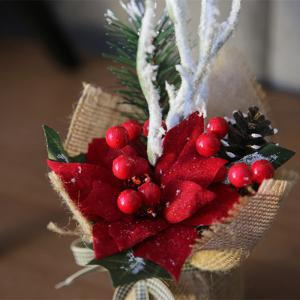 XM Christmas Flower Pine Cone Combination Bonsai Holiday Decoration Artificial Flower 30CM -