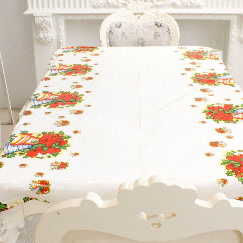 1PCS PVC Christmas Bell Pattern Disposable Tablecloth Holiday Decorations 110 x 180CMHOME<br><br>Color: WHITE; Material: PVC; Usage: Christmas; Package Quantity: 1 x  sheet of tablecloth;