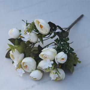 XM 10 Heads Silk Tea Rose Home Decoration Artificial Flower 30CM -