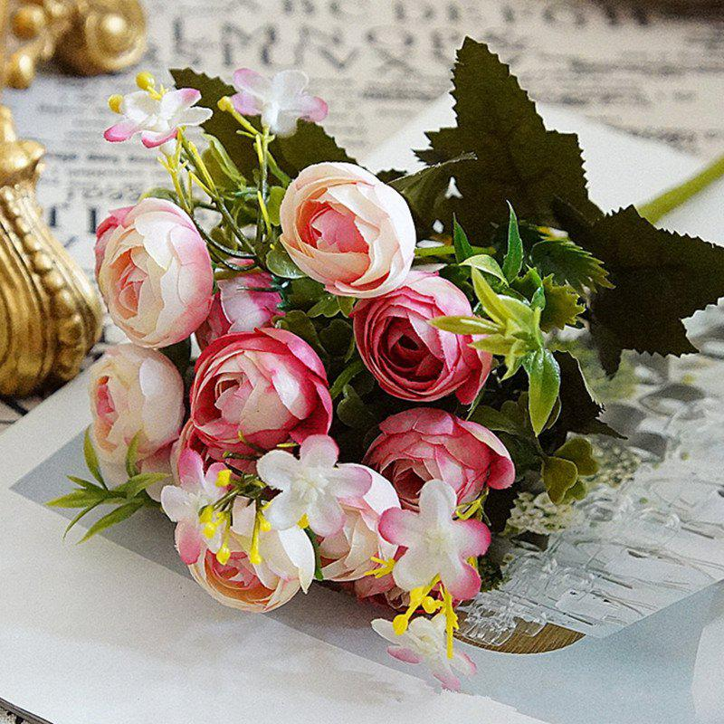 Fashion XM 10 Heads Silk Tea Rose Home Decoration Artificial Flower 30CM