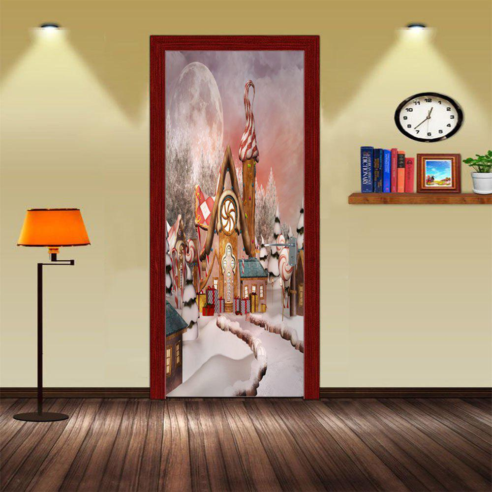 DSU Christmas Cartoon Landscape Wall Sticker Mural Bedroom Door Poster Home DecorHOME<br><br>Size: 77 X 200 CM; Color: MIX COLOR;