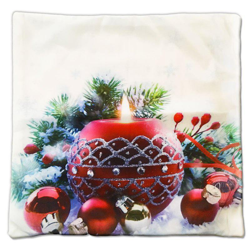 Christmas Gift Series Romantic Red Candle Round Flannel Material Pillow CoverHOME<br><br>Color: ????COLORMIX?;