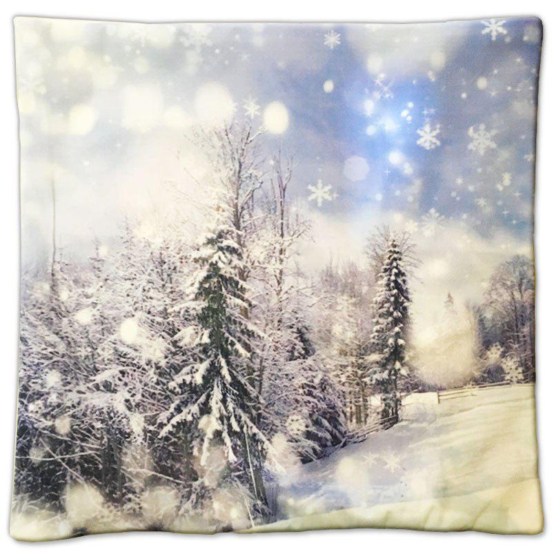 Christmas Gift Series White Pure Forest Painting Pillow CoverHOME<br><br>Color: ????COLORMIX?;