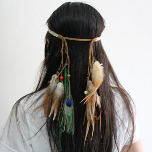 Bohemian Peacock Feather Hairband National Style Hairpin Indian Headband Hoop Gypsy Style Headdress -