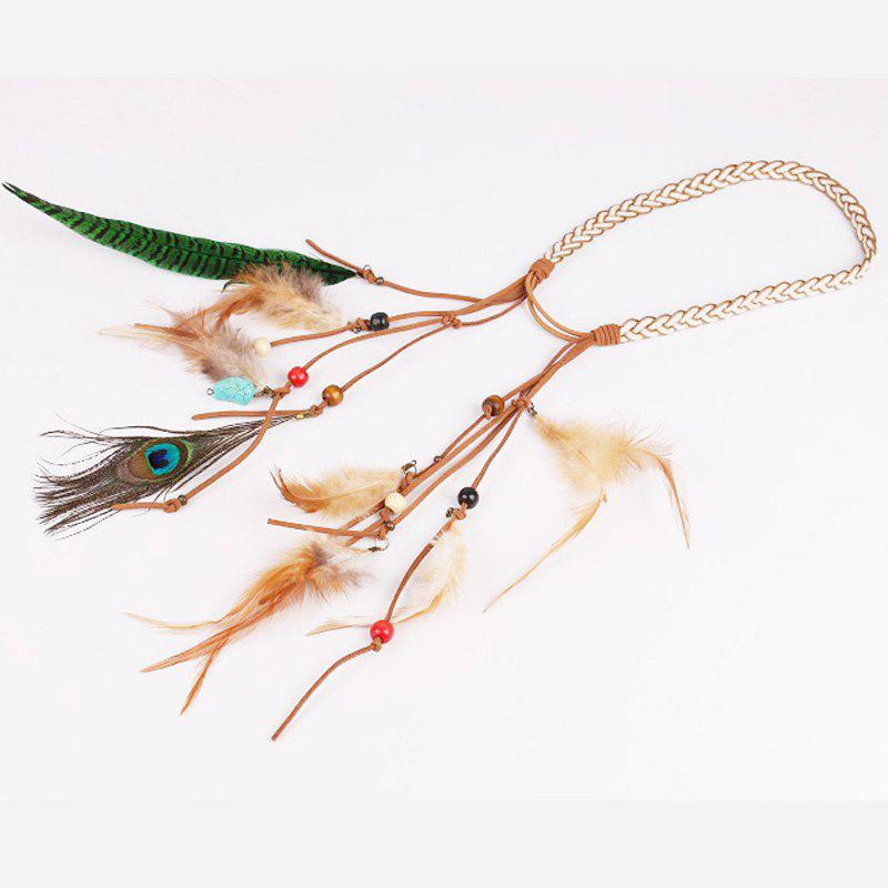 Bohemian Peacock Feather Hairband National Style Hairpin Indian Headband Hoop Gypsy Style HeaddressACCESSORIES<br><br>Color: OFF-WHITE;