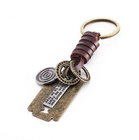 Fashion Men's Key Ring Blade Shape Alloy PU Woven Punk Key Ring Accessory