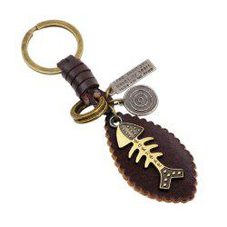 Punk Alloy Fishbone Shaped Leather Keyring -