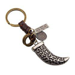 Punk Style Alloy Leather Hand Woven Knife Shaped Keyring -