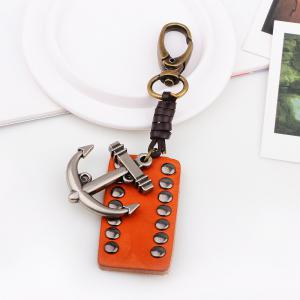 Rectangular Leather Rivet Anchor Key Chain -