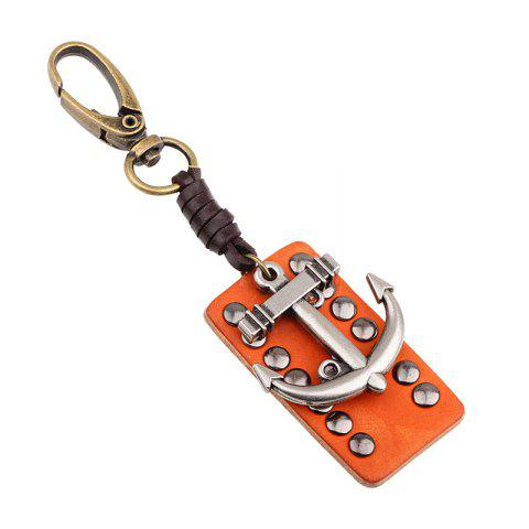 Cheap Rectangular Leather Rivet Anchor Key Chain