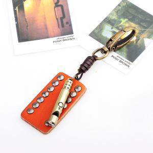 Punk Style Creative Leather Rivet Whistle Key Chain -