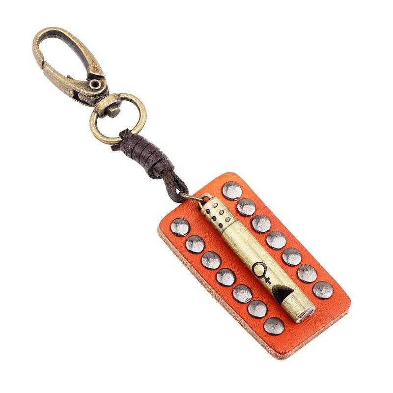 Shop Punk Style Creative Leather Rivet Whistle Key Chain