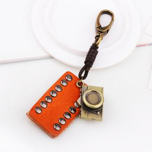 Rectangular Leather Rivet Antique Camera Key Chain -