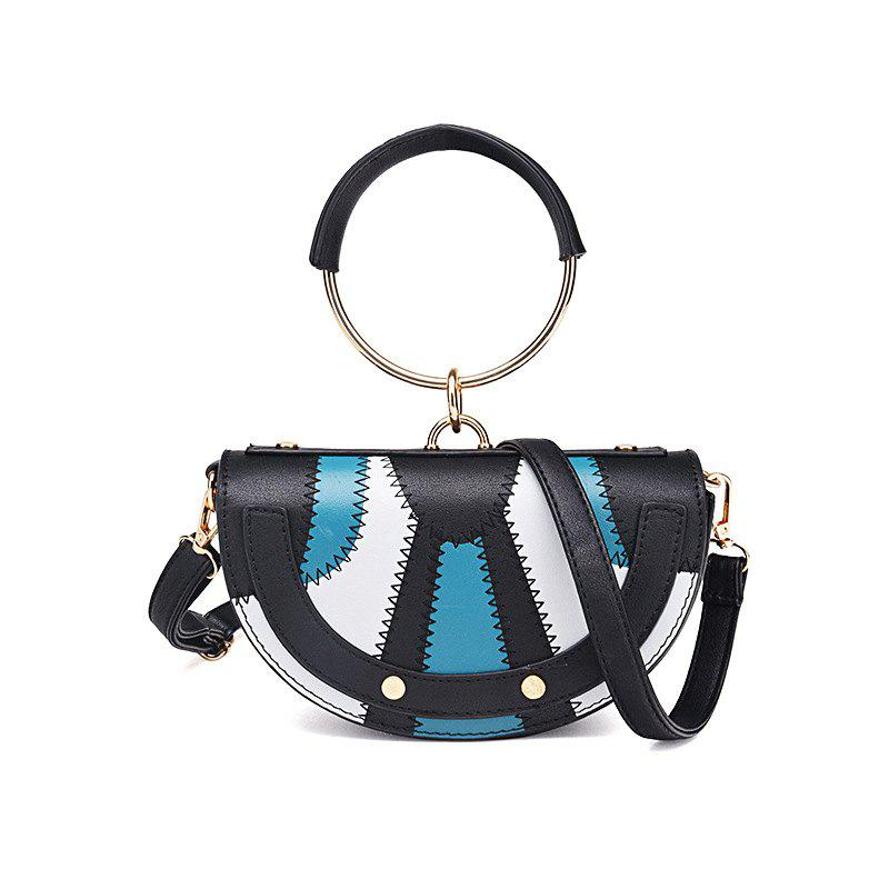 New Tide Ring Small Bag Personality Fashion Single Shoulder Bag HandbagSHOES &amp; BAGS<br><br>Color: BLACK AND BLUE;