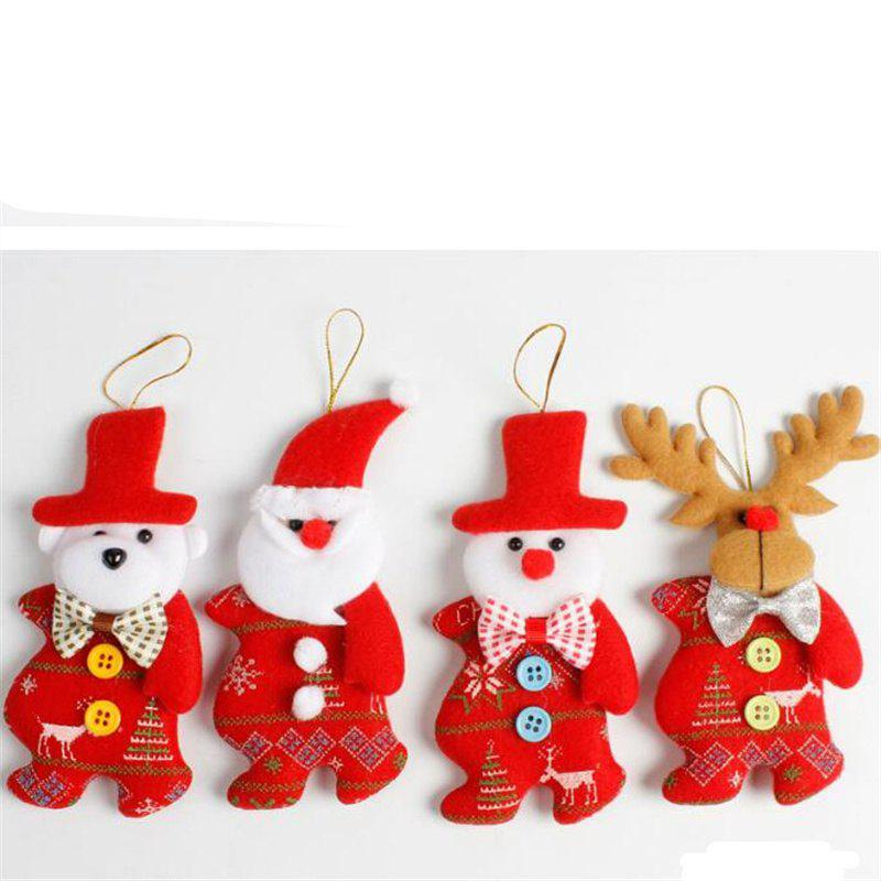 4PCS Cute Santa Christmas Tree Decoration AccessoriesHOME<br><br>Color: RED; Material: Nonwoven; Usage: Christmas,Others,Party; Package Quantity: 4 x Christmas Decoration;