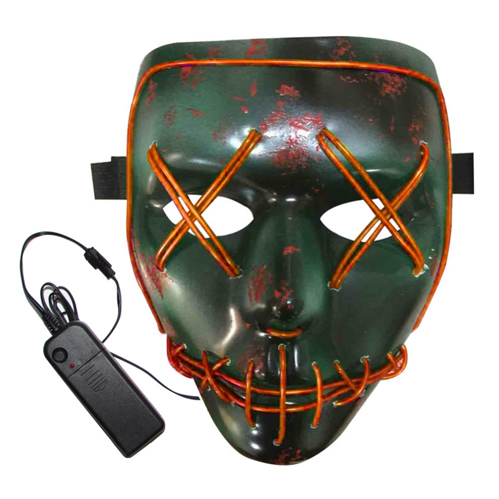 Store BRELONG Halloween Mask Green Full Blood Horror EL Cold Light for Make-up Party
