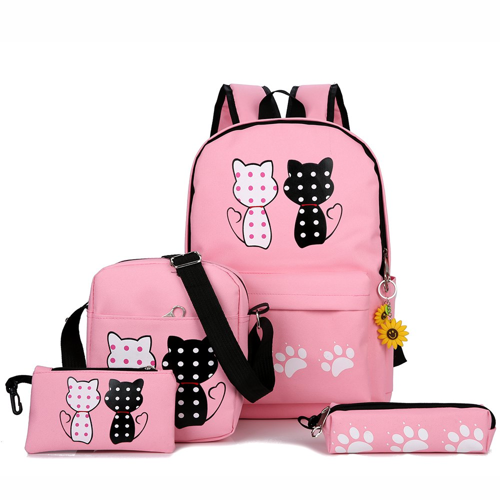 Outfit Girl Backpack 4 packs with Pendant Backpack