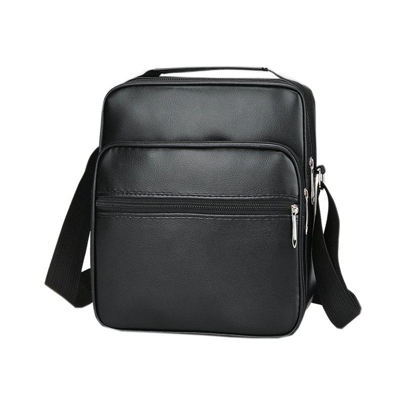 PU Leather Mens Shoulder Messenger BagSHOES &amp; BAGS<br><br>Color: BLACK;