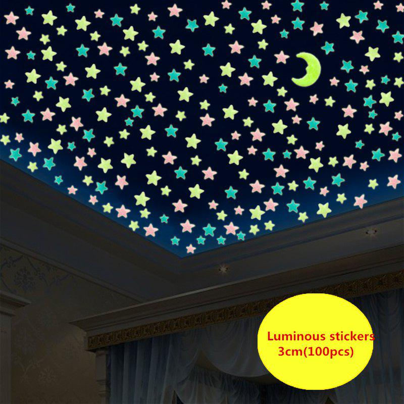 Fancy Ws 100pcs Lovely Luminous Stars Wall Stickers Home Glow In The Dark For Kids Fluorescent