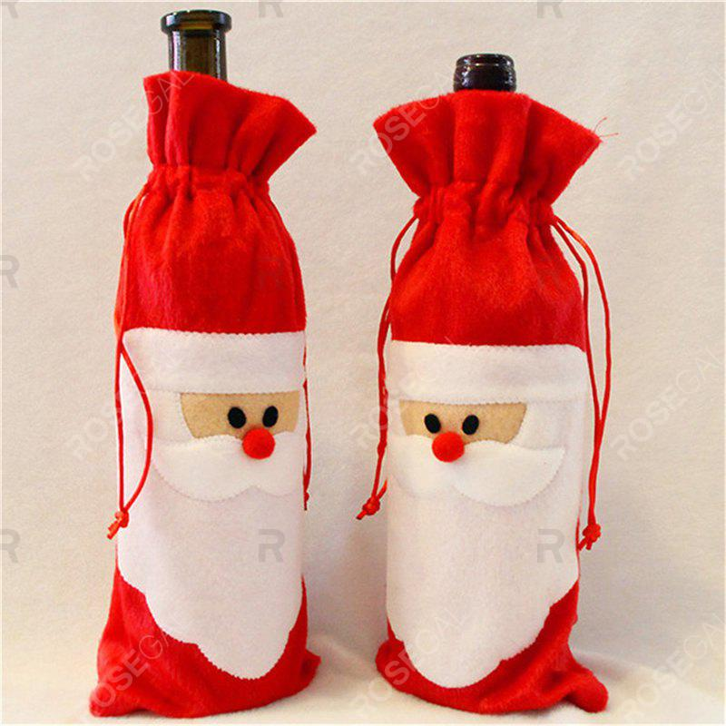 Santa Claus 1 Piece Red Wine Bottle Cover Bags Christmas Dinner Table Decoration Home PartyHOME<br><br>Color: FLAME;