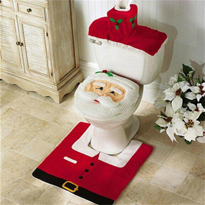 Hot WS0050 Merry Christmas Happy New Year Best Christmas Gift Decorations Bathroom Toilet Seat Carpet