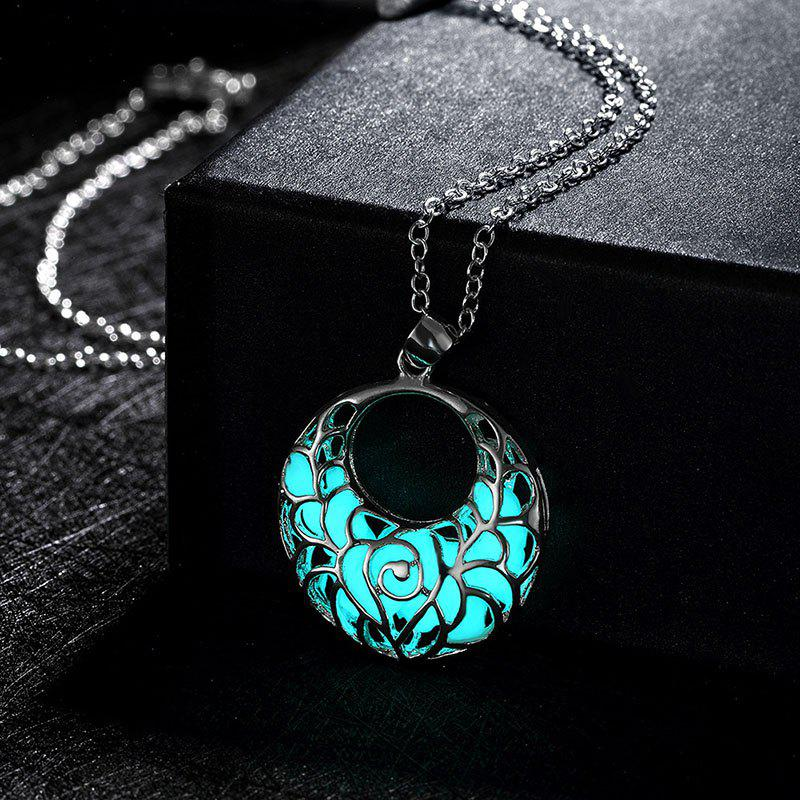 Fluorescent Fashion Hollow out Pendant Light Round Necklace-ALLOYJEWELRY<br><br>Size: 1PC; Color: APPLE SLICE;