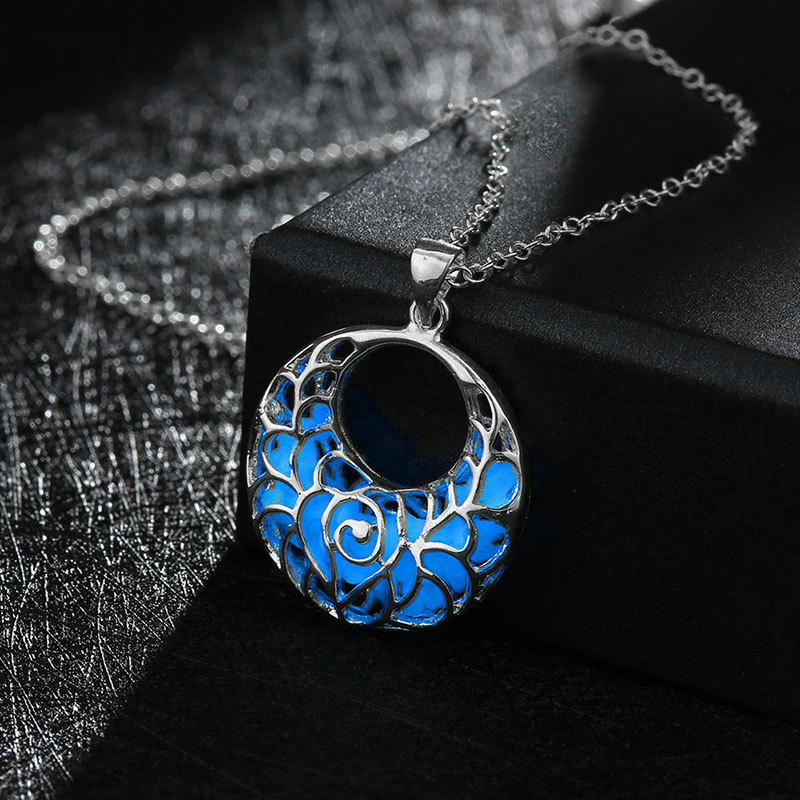 Chic Fluorescent Fashion Hollow out Pendant Light Round Necklace-ALLOY