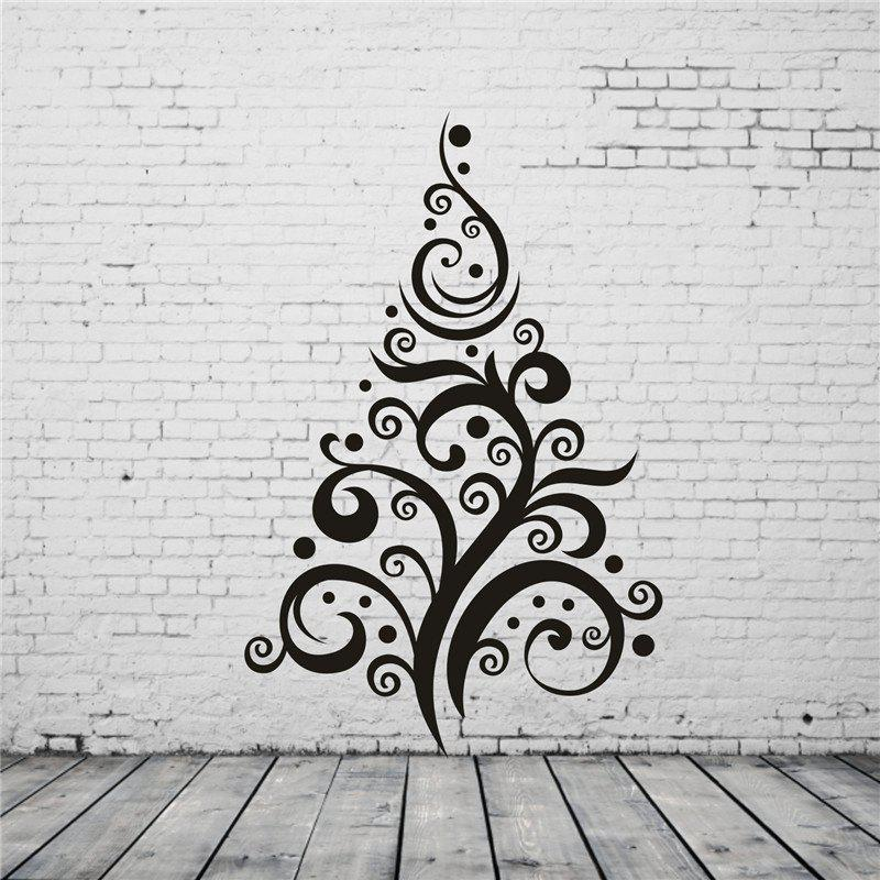 Christmas Tree Pattern Removable Wall StickersHOME<br><br>Color: BLACK;