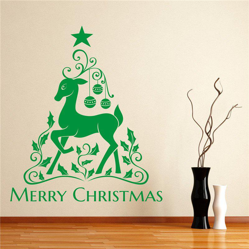 Christmas Elk Removable Wall StickersHOME<br><br>Color: GREEN;