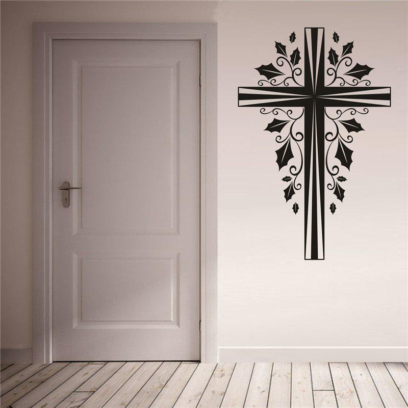 Cross Christmas Decoration  Removable Wall StickersHOME<br><br>Color: BLACK;