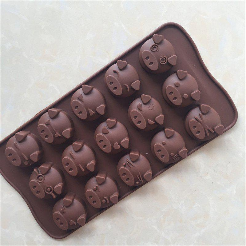 Cute Pig Shape Cake Chocolate Baking MoldHOME<br><br>Color: BROWN;