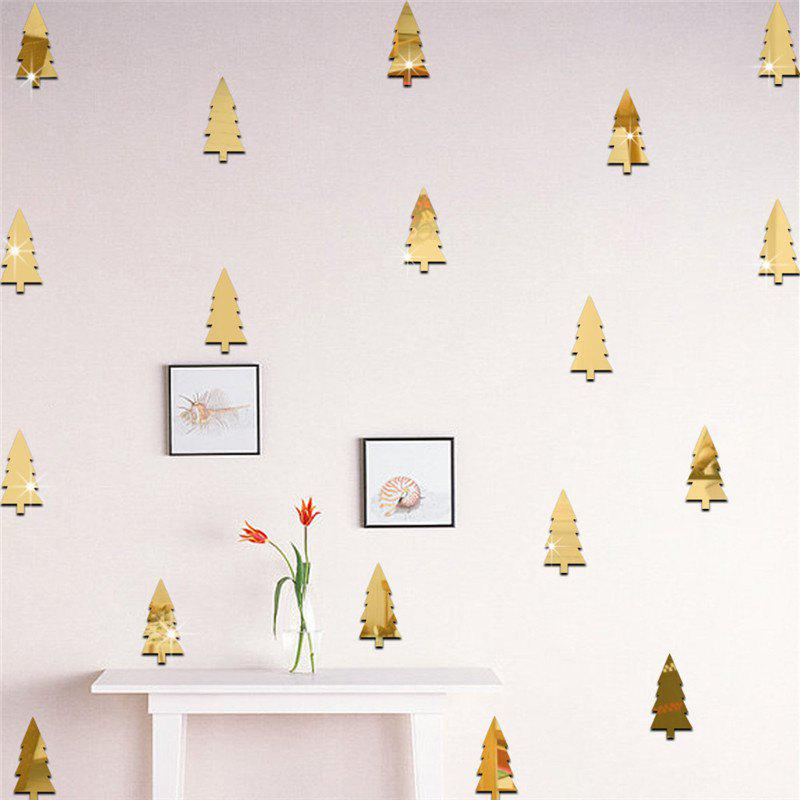 18pcs Christmas Tree Mirrow Wall Stickers for Home DecorationHOME<br><br>Color: GOLDEN;