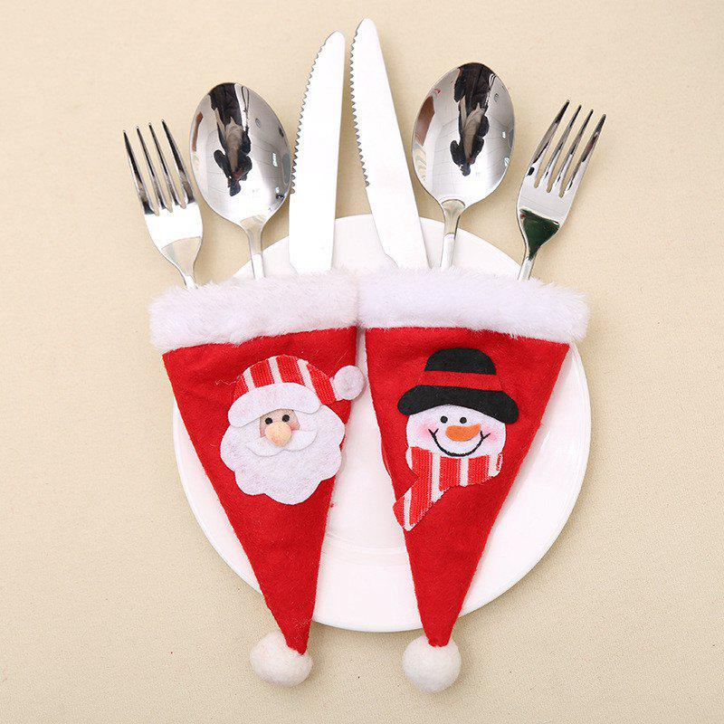 2pcs Snowman and Santa Claus Christmas Hat Decoration Knife and Fork BagHOME<br><br>Color: RED;