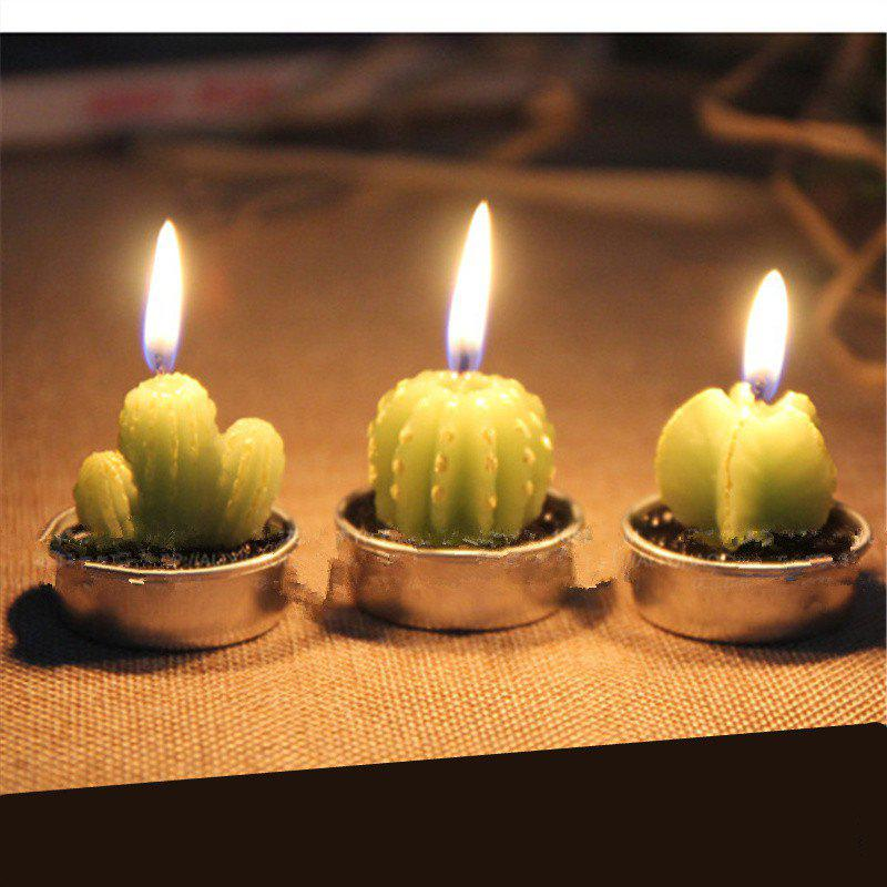 Creative 6PCS Candle Lovely Cactus Polypotted Plant Scented CandlesHOME<br><br>Color: GREEN;
